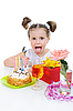 Beautiful little girl celebrates birthday | Stock Foto