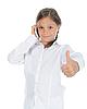 Фото 300 DPI: Симпатичная маленькая девочка с пальцем вверх