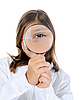 Photo 300 DPI: girl looking through magnifying glass