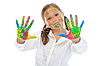 Smiling girl with the palms painted by paint | Stock Foto