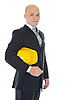 Photo 300 DPI: Businessman with construction helmet