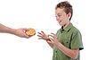 Photo 300 DPI: Little boy wants hamburger