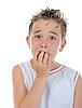 Photo 300 DPI: Portrait of frightened boy