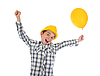 Little smiling builder in helmet | Stock Foto