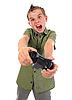 Funny boy with joystick | Stock Foto