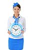 Atrakcyjna stewardesa z zegarem | Stock Foto