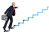 Businessman runs up the career ladder | Stock Foto