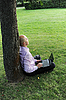Man with laptop sitting near tree | Stock Foto