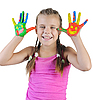 ID 3022075 |  girl with the palms painted by paint. | High resolution stock photo | CLIPARTO