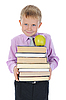 Boy holds stack of books | Stock Foto