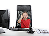 Little girl at the office computer. | Stock Foto