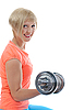 Young girl athlete dumbbell | Stock Foto