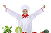 Photo 300 DPI: Positive handsome chef prepares vegetables