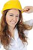 건설 헬멧을 가진 여자 | Stock Foto