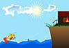 small fish, sea and house ashore