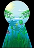 Векторный клипарт: Замочная скважина в тропический мир