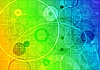 Abstract iridescent background with circles and squares