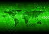 Abstract green background with world map