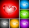 Set of bright backgrounds with hearts