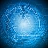 Vektor Cliparts: Hallo-Tech-blauem Hintergrund