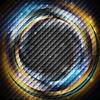 Векторный клипарт: Синий и оранжевый кольца на темный квадрат текстуру