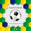 Vector clipart: Bright soccer background with ball. Brazilian colors