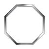Abstract metallic silver blank hexagon frame