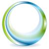 Bright green blue round circle logo design