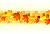 Vector clipart: Red orange maple leaves on geometric squares