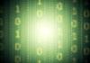 Verde código binario sistema de fondo. De malla de degradado | Ilustración vectorial