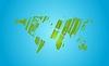 Leuchtend grüne Grunge-Weltkarte auf blauem