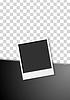 Vector clipart: Black flyer design with polaroid photo frame
