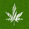 Vector clipart: White grunge cannabis leaf on green pattern