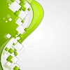 Vector clipart: Bright green wavy tech abstract background