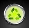 Vector clipart: Metal button with green recycle logo sign