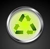 Векторный клипарт: Металл кнопку с зеленым знаком логотип корзины