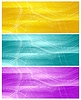 Vector clipart: Bright banners with abstract chaotic wavy lines
