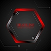 Vector clipart: Black and red metal hexagon tech drawing