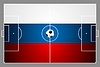 Bright soccer background with ball. Russian colors