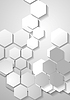 Vector clipart: Light grey tech background with hexagons