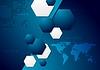 Dark blue tech Hintergrund mit Weltkarte