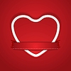 Vector clipart: Valentine Day background with paper heart and ribbon