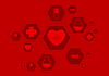 Vector clipart: Bright red health background with medical icons