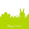 Green Easter rabbit, eggs and grass