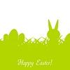 Grüne Ostern-Kaninchen, Eier und Gras