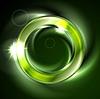 Векторный клипарт: Яркий зеленый свечение радужная круглый логотип