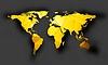 Векторный клипарт: Карта Яркий оранжевый многоугольной мир с тенью