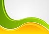 Векторный клипарт: Яркий зеленый и оранжевый волнистой корпоративный фон