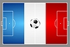 Vector clipart: Bright soccer background with ball. French colors
