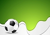 Vector clipart: Green wavy soccer background with ball